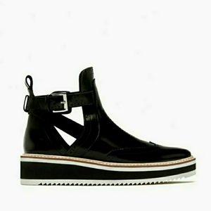 Zara Flat Cut-Out Ankle Boots Sz 6